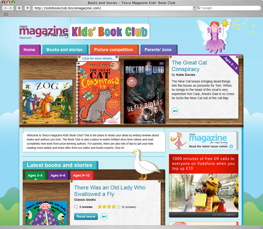 Tesco Kids Book Club homepage