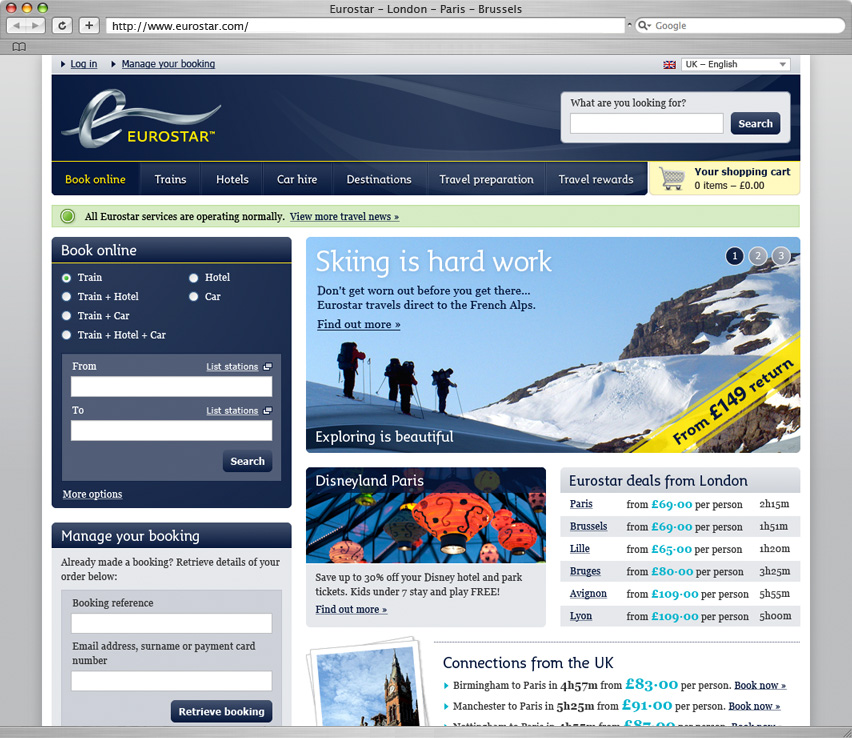 Eurostar booking page
