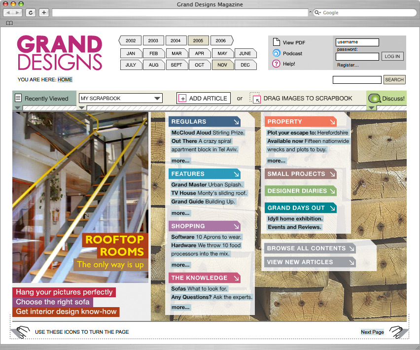 Magazite homepage for Grand Designs