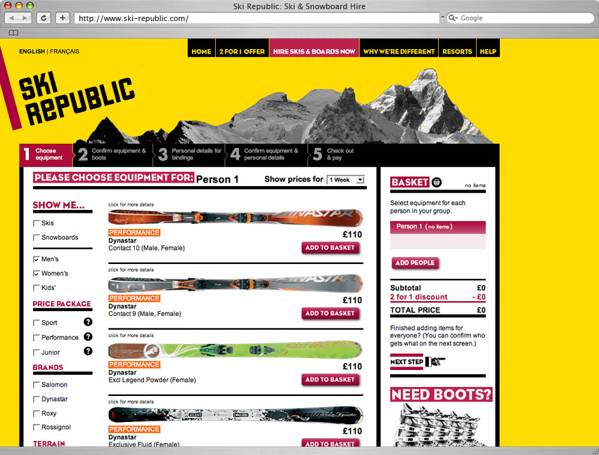 Ski hire booking system